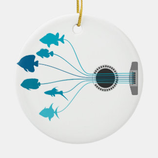 Fish a guitar ceramic ornament