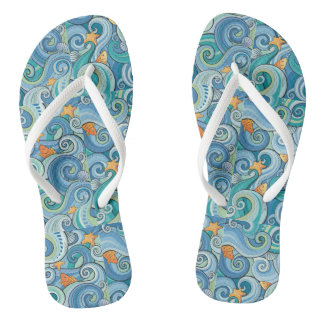 Fish Among The Waves Pattern Flip Flops