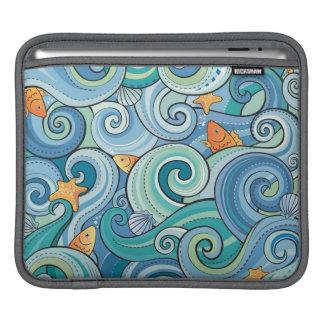 Fish Among The Waves Pattern iPad Sleeves
