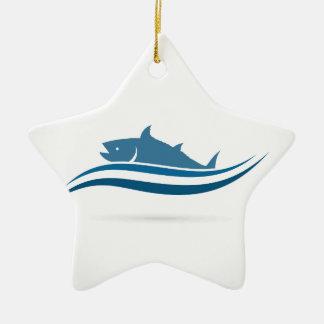 Fish an icon2 ceramic ornament