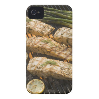 Fish and asparagus cooking on grill iPhone 4 covers