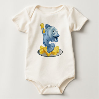 Fish and Chips Cartoon Baby Bodysuit