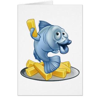 Fish and Chips Cartoon Card