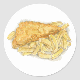 fish and chips round sticker