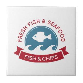 Fish And Chips Seafood Logo Ceramic Tiles