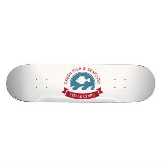 Fish And Chips Seafood Logo Skate Decks