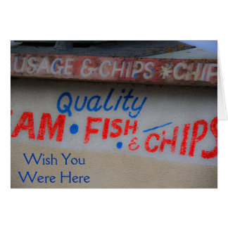 Fish and Chips Sign Wish You Were Here Card