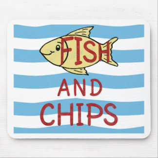 Fish and Chips Square Design Mouse Pad