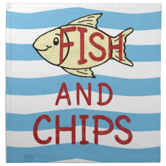 Fish and Chips Square Design Napkin