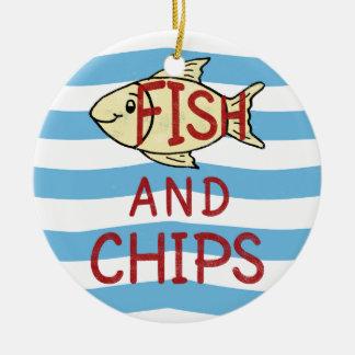 Fish and Chips Square Design Round Ceramic Ornament