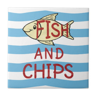 Fish and Chips Square Design Tile