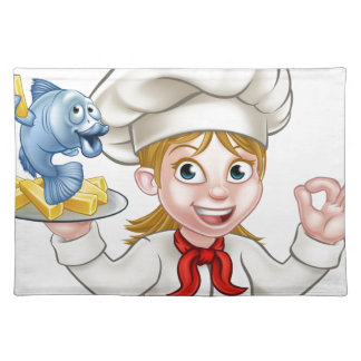 Fish and Chips Woman Chef Placemat