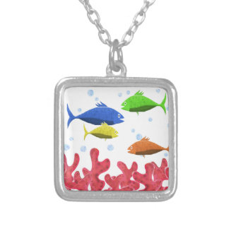 Fish and corals silver plated necklace