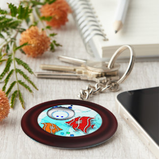Fish and diver keychain