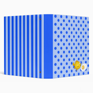 Fish and fried egg on blue polka dots and stripes vinyl binder