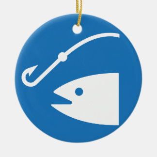 Fish and Hook Fishing Icon Ceramic Ornament