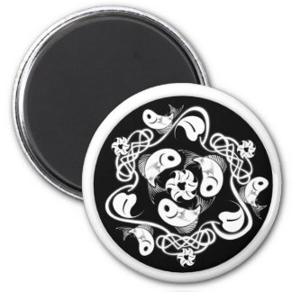 fish and plant black 2 inch round magnet