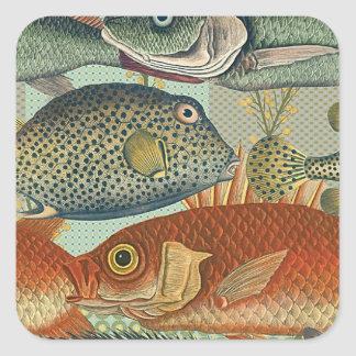 Fish and Seaweed Square Sticker