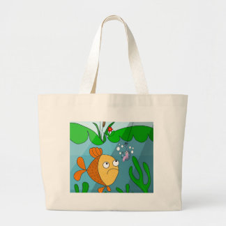 Fish and worm large tote bag