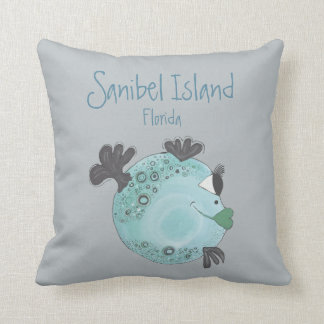 Fish Artwork Sanibel Island FL Throw Pillow