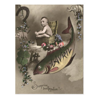 Fish Baby Four Leaf Clover Poisson d'avril Postcard
