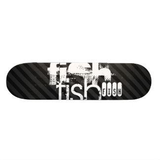 Fish; Black & Dark Gray Stripes Skate Board Decks