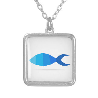 Fish blue silver plated necklace