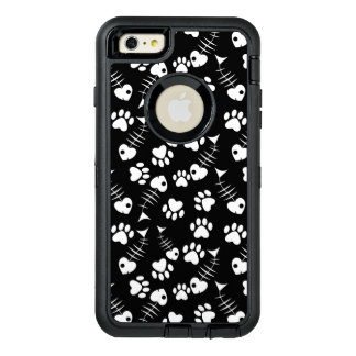 fish bone cat print pattern OtterBox defender iPhone case