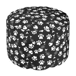 fish bone cat print pattern pouf