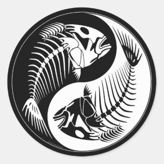 Fish Bone Yang Round Sticker