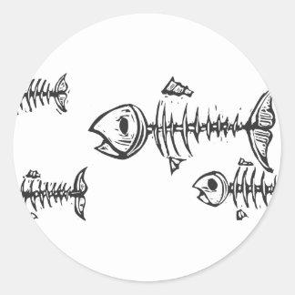 Fish Bones Classic Round Sticker