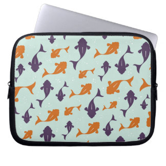 Fish Bowl | Aqua Orange Pattern Design Laptop Computer Sleeves