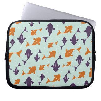 Fish Bowl   Aqua Orange Pattern Design Laptop Sleeve