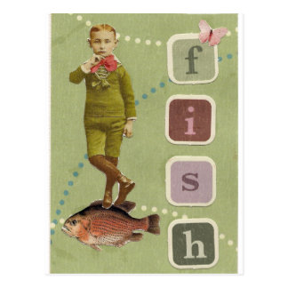 FISH Boy Vintage Collage Postcard