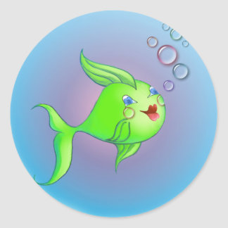 FISH BUBBLE by SHARON SHARPE Classic Round Sticker