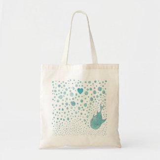 Fish Bubble Love Budget Tote Bag