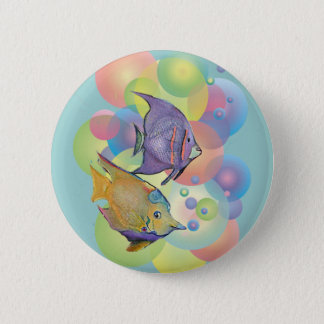 FISH BUBBLES by SHARON SHARPE 2 Inch Round Button