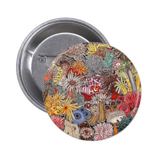 Fish clown and anemones 2 inch round button