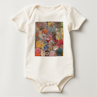 Fish clown and anemones baby bodysuit