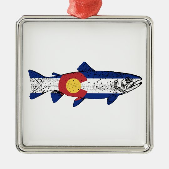 Fish Colorado Silver-Colored Square Ornament