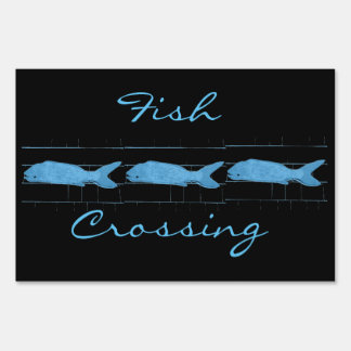 Fish crossing Thunder_Cove black Sign