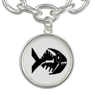 Fish Design, whorls and beads, Ecuador Charm Bracelet