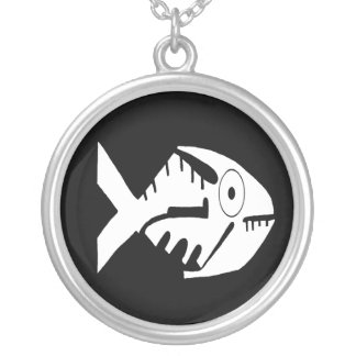 Fish Design, whorls and beads, Ecuador Silver Plated Necklace