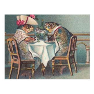 Fish Dinner Vintage Illustration Postcard