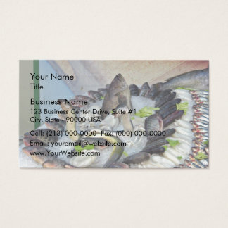 Fish displayed on Ice in Grocery store Business Card