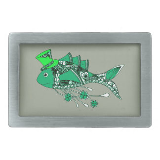 Fish Dressed for St Patrick's Day Rectangular Belt Buckle