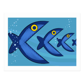 Fish eat fish postcard