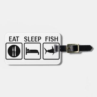 fish eat sleep luggage tag