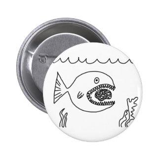 Fish Eats Brain 2 Inch Round Button