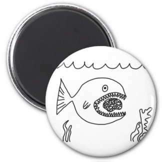Fish Eats Brain 2 Inch Round Magnet